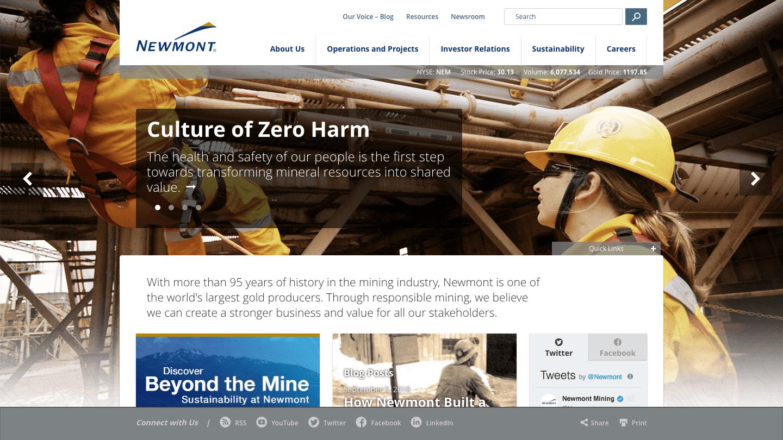 Screenshot of Newmont Mining's WordPress powered website