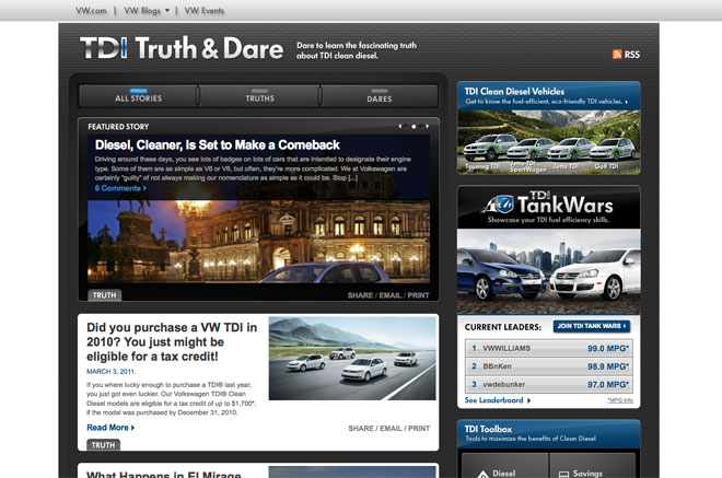 VW TDI WordPress Powered Web Design
